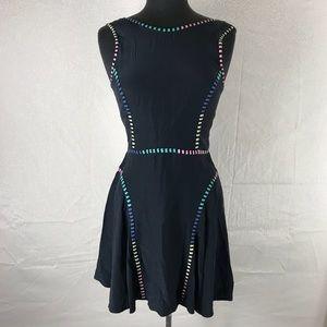Parker Silk ScoopNeck Sleeveless Color Trim Dress
